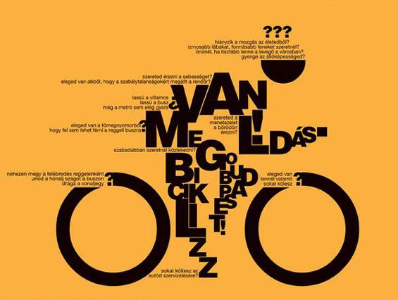 Tipografi nedir sorusuna yanıt niteliğinde bisiklet süren adam şeklinde tipografik yazı